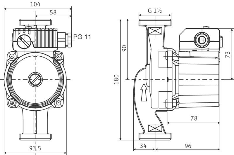 Габаритные размеры Wilo Star-RS 25-4