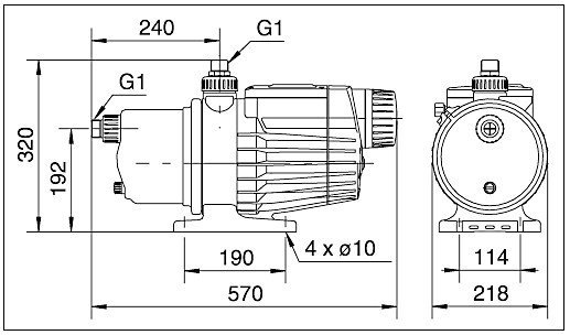 Габаритные размеры Grundfos MQ 3-35