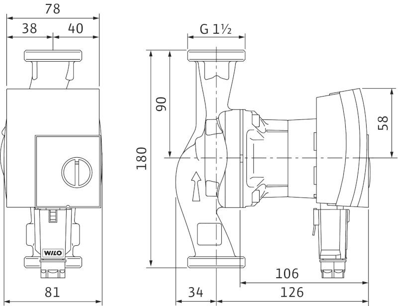 Габаритные размеры моделей Yonos PICO 25/1-4 и 25/1-6