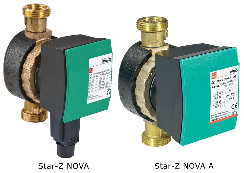 Циркуляционные насосы для горячего водоснабжения Wilo Star-Z NOVA и Star-Z NOVA A