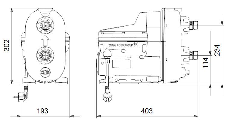 Размеры насоса Grundfos SCALA2